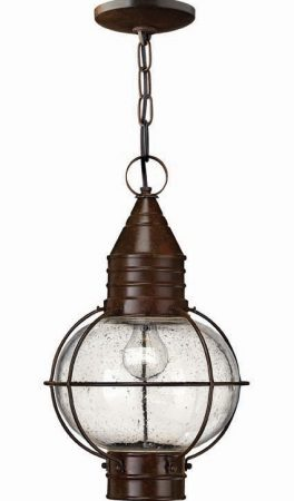 Hinkley Cape Cod Large Solid Brass Hanging Porch Lantern Bronze