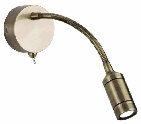 Flexible switched wall light LED reading light in antique brass