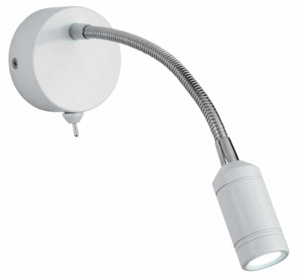 Flexible switched wall light LED reading light in white & chrome