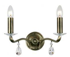 Cobra Antique Brass 2 Arm Traditional Wall Light