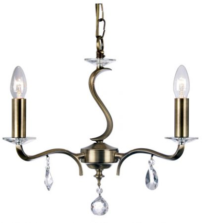 Cobra Stunning Antique Brass 3 Light Chandelier