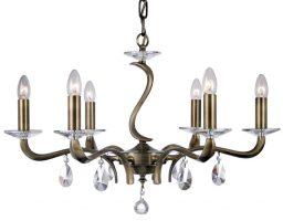Cobra Stunning Antique Brass 6 Light Chandelier