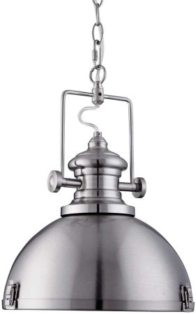 Satin Silver Dome Kitchen Industrial Pendant Light