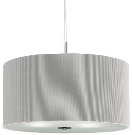 Drum Pleated Silver Fabric 3 Light Pendant Ceiling Light Frosted Glass