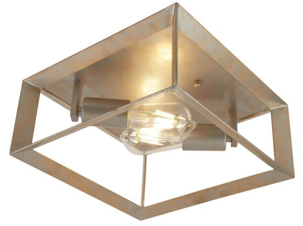 Heaton 2 light flush mount box ceiling light brushed silver and gold