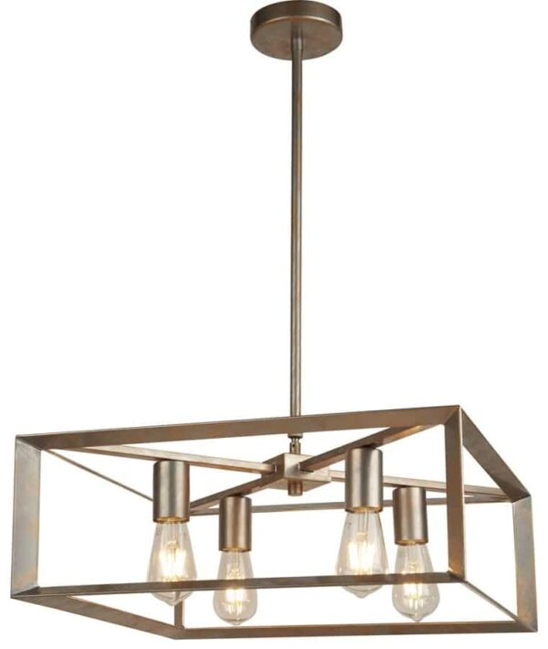 Heaton 4 light pendant ceiling light in brushed silver and gold
