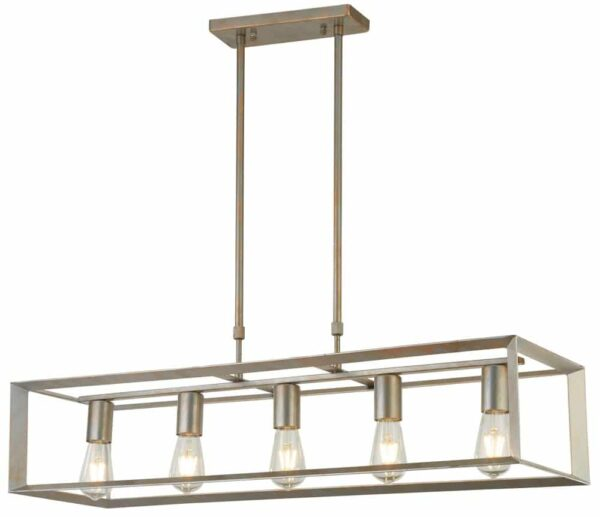 Heaton 5 light island ceiling pendant in brushed silver gold