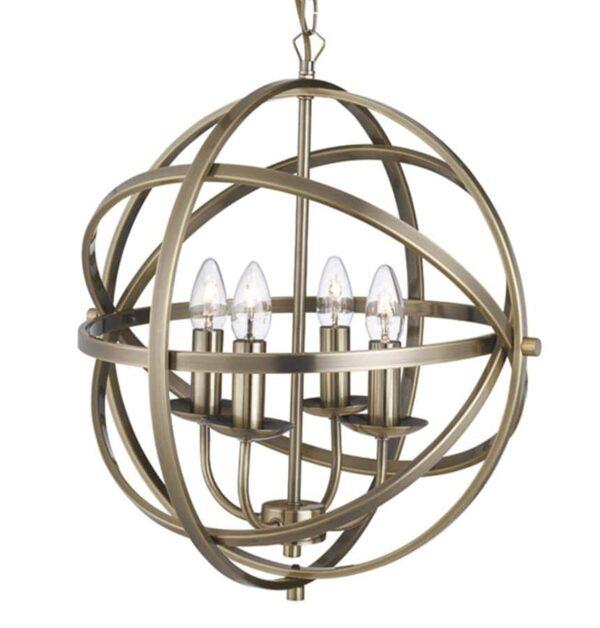 Orbit 6 light orb cage pendant ceiling light antique brass closeup