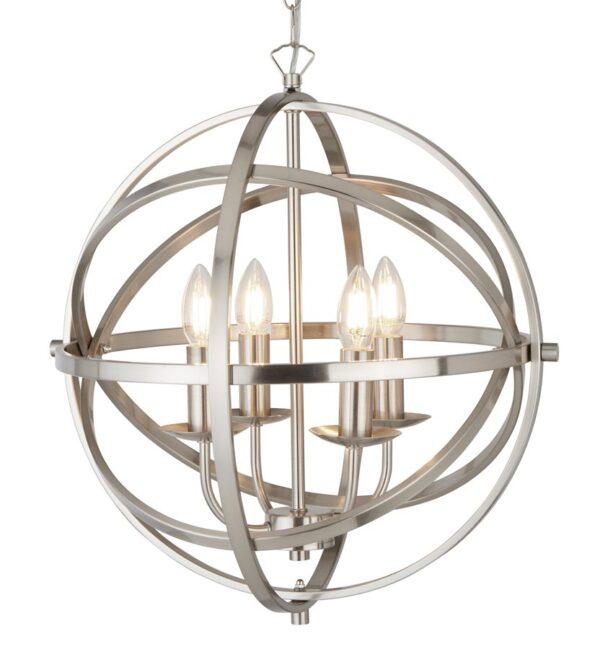 Orbit 4 light orb cage pendant ceiling light in satin chrome