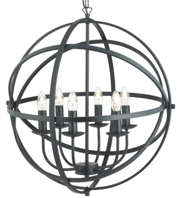 Orbit 6 light orb cage pendant ceiling light matt black closeup