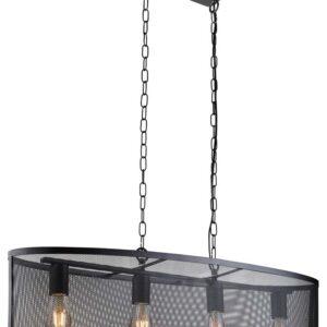 Fishnet 4 light oval mesh pendant ceiling light matt black