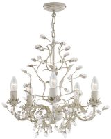 Almandite Cream / Gold 5 Light Chandelier With Crystal