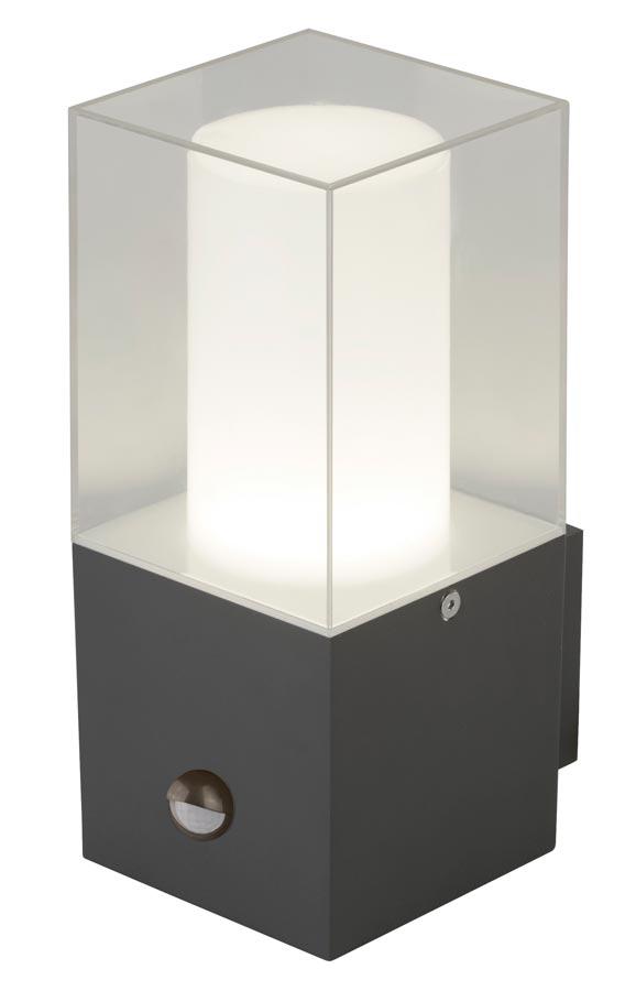 Cube outdoor PIR motion sensor wall light dark grey IP44