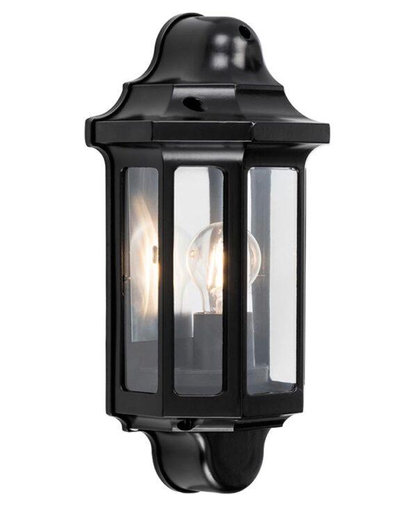 Traditional 1 Light Outdoor Wall Half Lantern Satin Black IP44