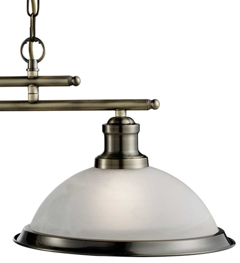 Bistro Retro Antique Brass 2 Lamp Kitchen Pendant Light