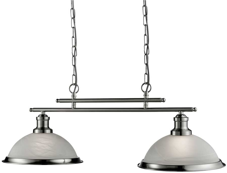 Bistro Retro Satin Silver 2 Lamp Kitchen Pendant Light Bar