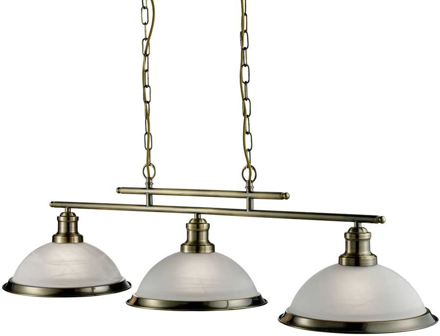 Bistro Retro Antique Brass 3 Lamp Kitchen Pendant Light