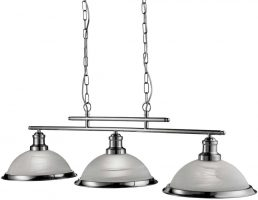 Bistro Retro Satin Silver 3 Lamp Kitchen Pendant Light Bar