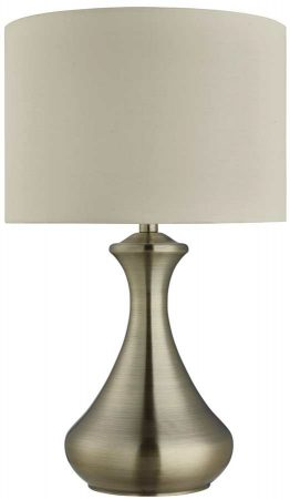 Modern Antique Brass Touch Dimmable Table Lamp Cream Shade