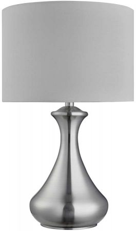 Modern Satin Silver Touch Dimmable Table Lamp White Shade