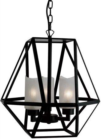Voyager Matt Black Iron 3 Light Octagonal Hanging Lantern