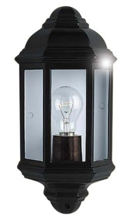 Traditional Flush Outdoor Wall Lantern Clear Glass Black IP44