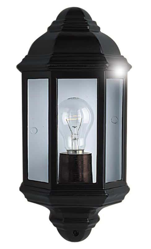 Traditional flush outdoor half round wall lantern black IP44