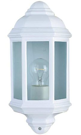 Traditional Flush Outdoor Wall Lantern Clear Glass White IP44