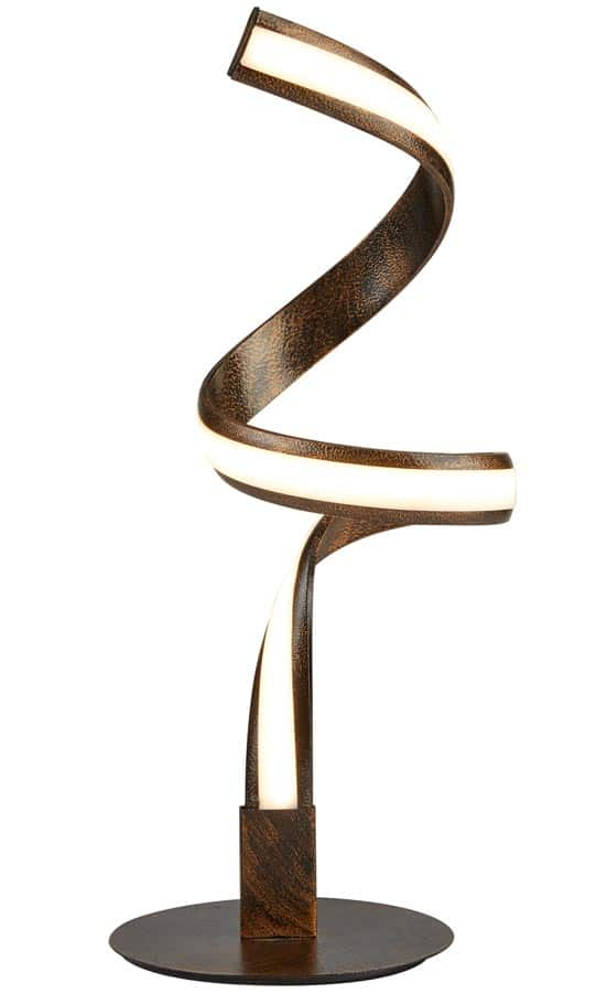 Ribbon LED twist desk or table lamp in brown and gold
