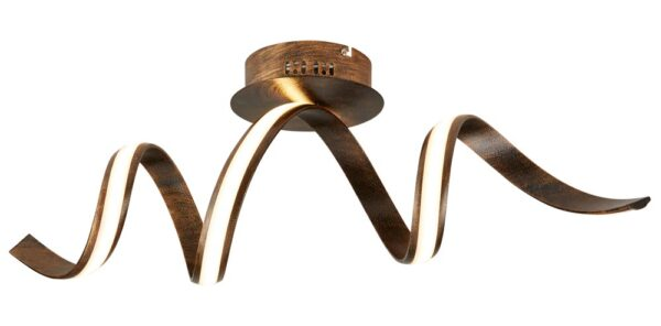 Ribbon LED twist flush mount ceiling light in brown and gold