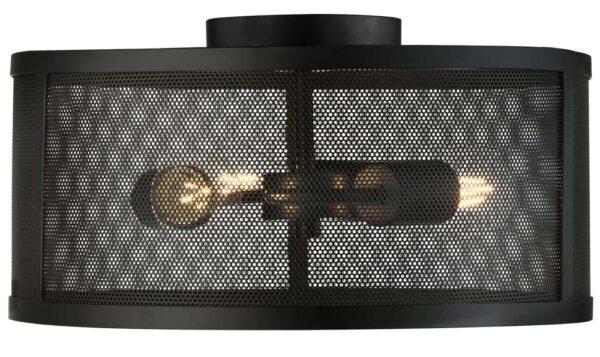 Fishnet 3 light mesh drum flush mount ceiling light matt black