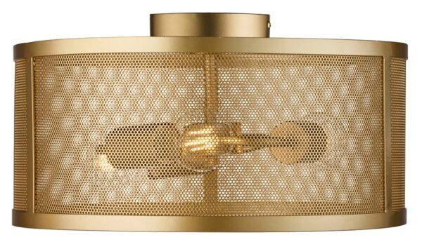Fishnet 3 light mesh drum flush mount ceiling light matt gold