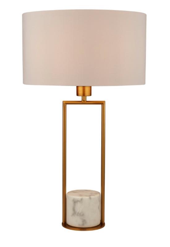 White Marble Base 1 Light Table Lamp Gold White Drum Shade
