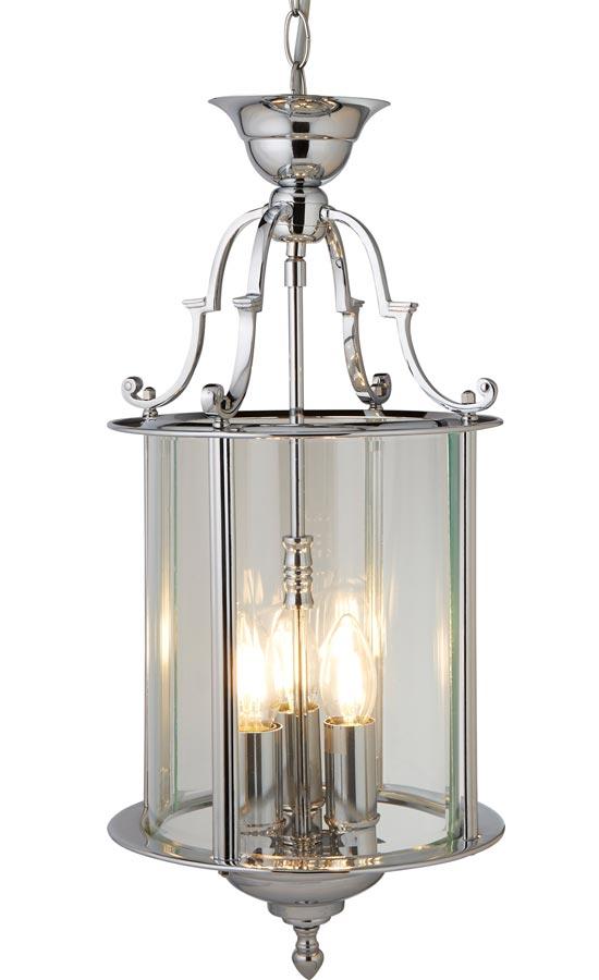 Georgian style 3 light hanging lantern polished chrome