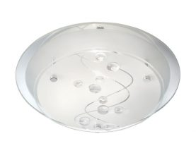 Flush Glass Ceiling Light With Beads And Chrome