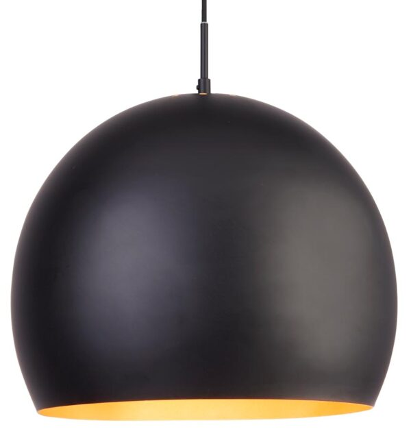Domas 1 light large 40cm bright matt black ball ceiling pendant