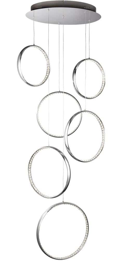 Ring 6 light LED multi drop ceiling pendant