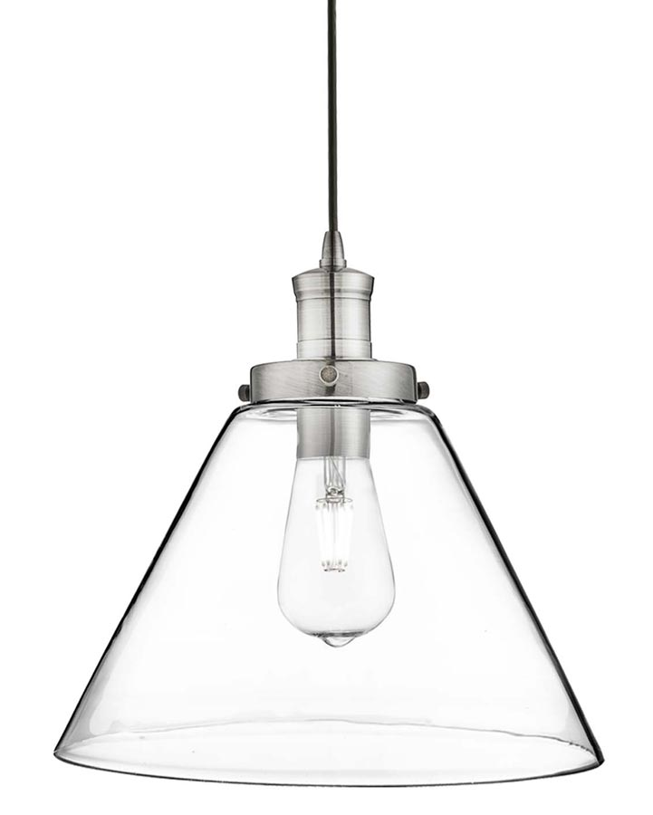 Pyramid 1 Light Clear Glass Pendant Ceiling Light Satin Silver 3228ss