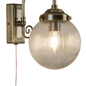 Belvue 1 light bathroom wall light antique brass