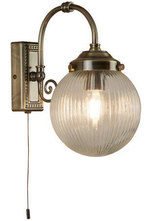 Belvue 1 Light Bathroom Wall Light Antique Brass Ribbed Globe IP44