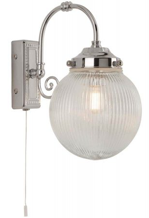 Belvue 1 Light Bathroom Wall Light Polished Chrome Ribbed Globe IP44