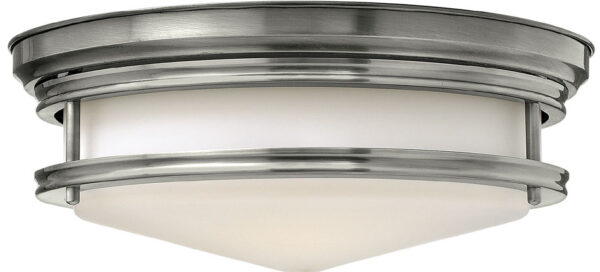 Hinkley Hadley Art Deco Design Antique Nickel 3 Lamp Flush Light