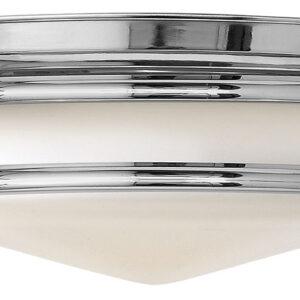 Hinkley Hadley Art Deco Design Polished Chrome 3 Lamp Flush Light