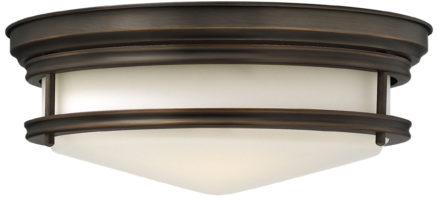 Hinkley Hadley Art Deco Design Oiled Bronze 3 Lamp Flush Light