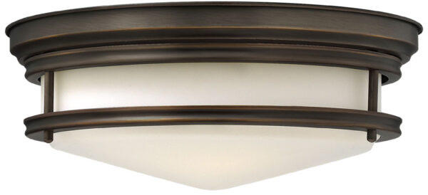 Hinkley Hadley Art Deco Design Oiled Bronze 3 Lamp Flush Light