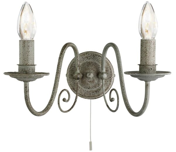 Greythorne steel switched twin wall light in textured grey