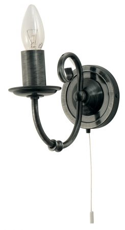 Black And Silver Wrought Iron Style Switched Wall Light