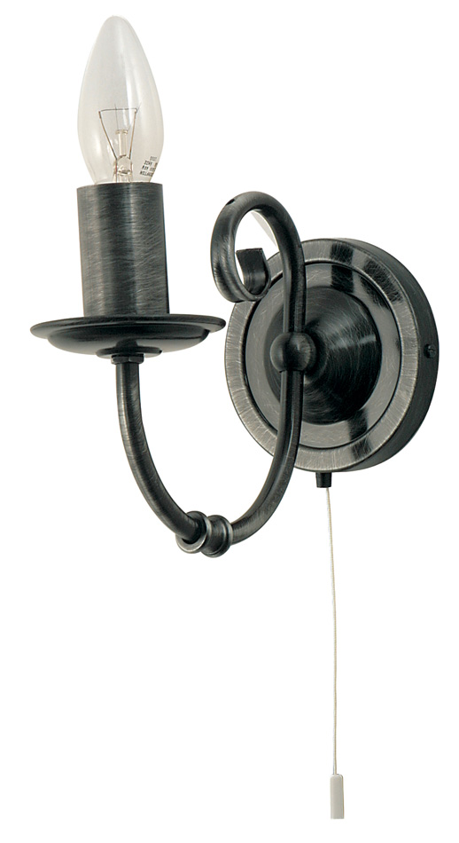 Black Wrought Wall Lights : Black And Silver Wrought Iron Style Switched Wall Light 3380/1 BS