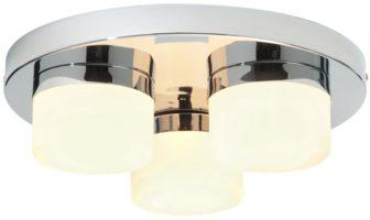 Pure Modern 3 Lamp Flush IP44 Bathroom Ceiling Light Chrome
