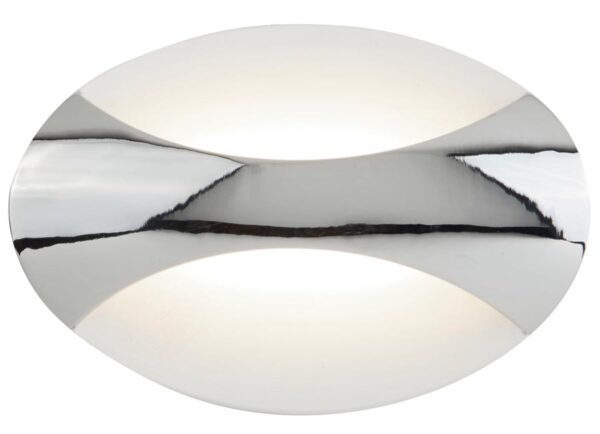Contemporary LED oval wall light in polished chrome